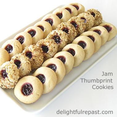 Jam Thumbprint Cookies / www.delightfulrepast.com