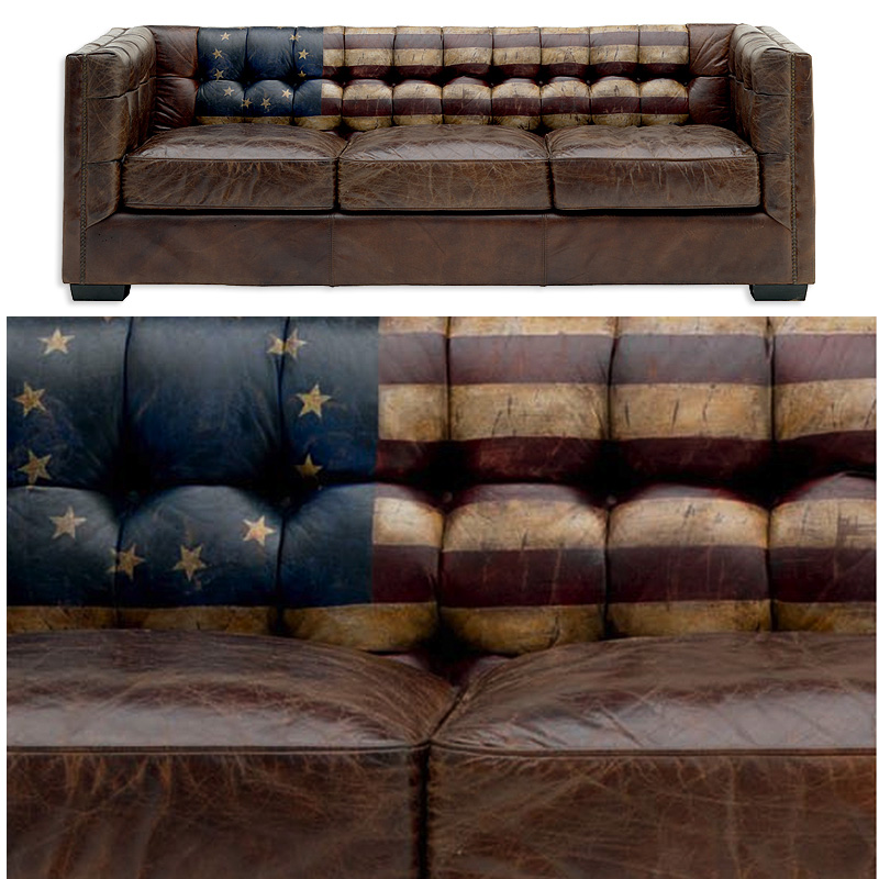 Andrew Martinu0027s Armstrong Leather Distressed Sofa With Old American Flag: