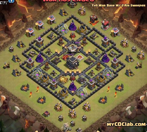 Th9 War Base Layout With 2 Air Sweeper