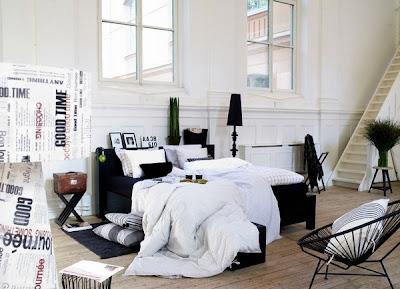 diseño dormitorio negro blanco