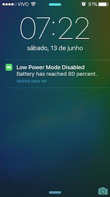 Modo de Pouca Energia desativado - iOS 9