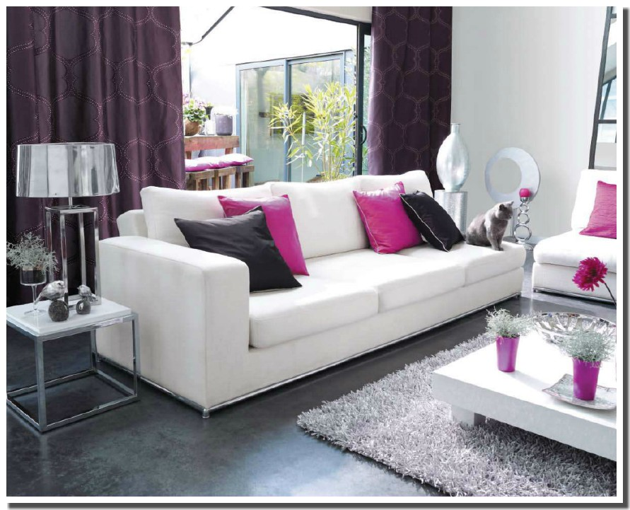 deco salon gris blanc fushia pr l vement d. Black Bedroom Furniture Sets. Home Design Ideas