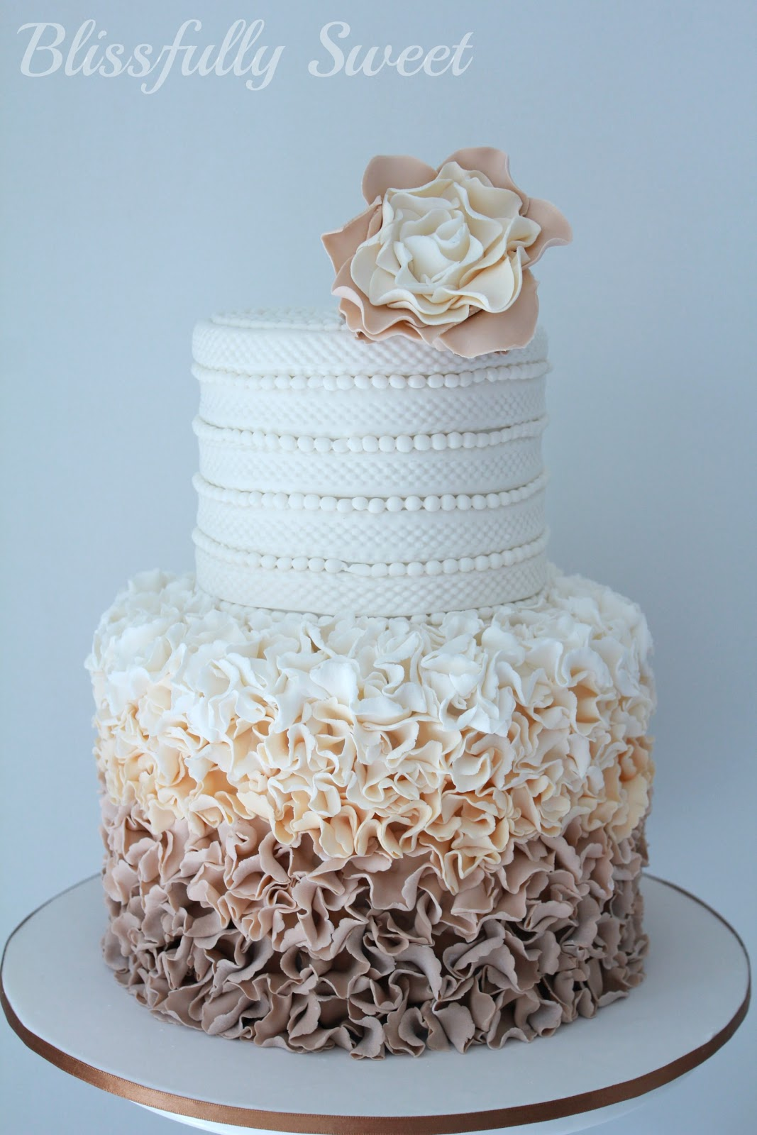 Blissfully Sweet A Ruffled Ombre Moccha Engagement Cake