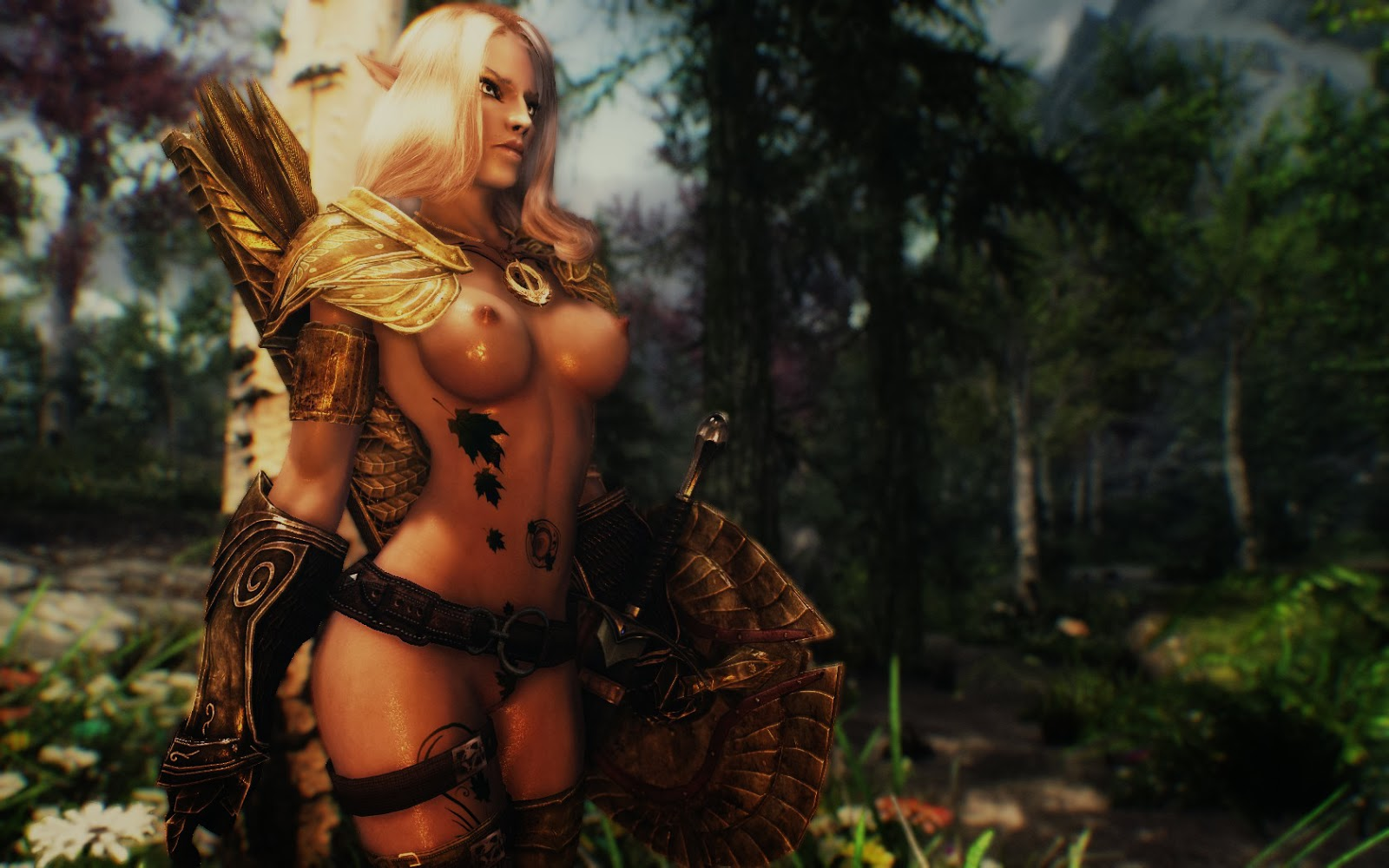 Elder scrolls sexy elf exposed woman