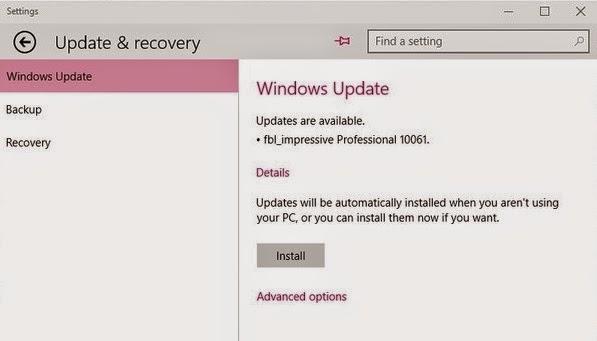 Cara Update Ke Windows 10 Build 10061