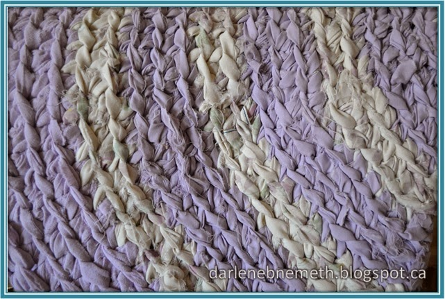 Purple and Off White Rag Rug