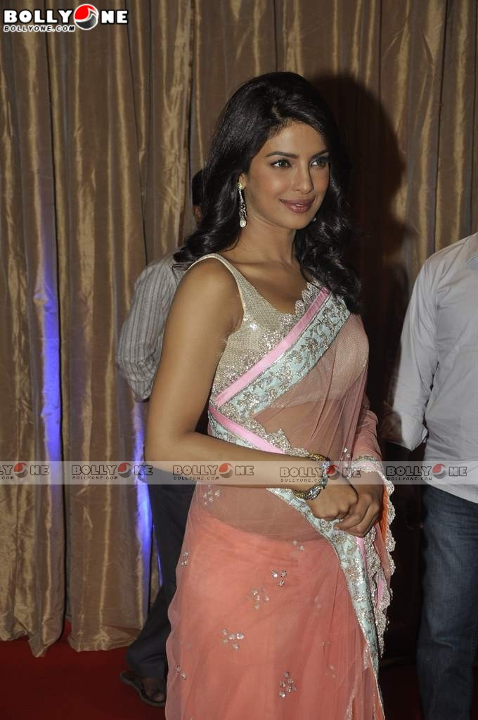 Priyanka Chopra wears Manish Malhotra Sari at Ganesh Hegde Wedding Reception