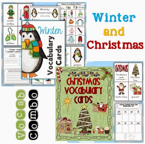 Winter and Christmas vocabulary cards in one file, ready for your December centers.