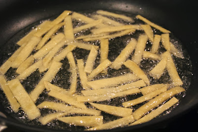 Frying tortilla strips