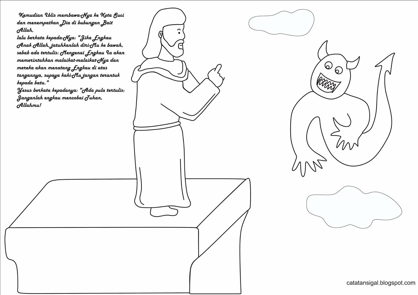 "cerita bergambar ""Yesus Dicobai di padang gurun"" · kreativitas Tentang ""Yesus dicobai di padang gurun"" · Gambar Mewarnai"