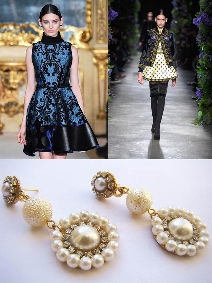 VENTOS BARROCOS_Brinco Annita Brilhante_jóia Barroca_Bijouteria estilo barroco_vestido azul_vestido rendado_