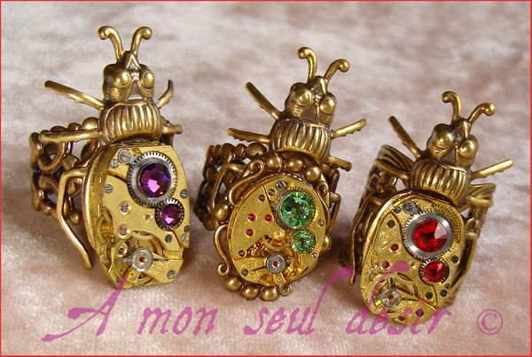bague steampunk mécanisme insecte scarabée bronze mouvement de montre mécanique clockwork insect scarab jewellery ring watchwork