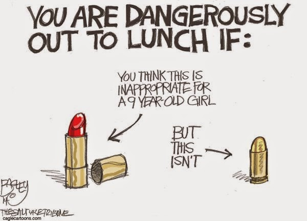 You are dangerously out to lunch if you think this (lipstick) is inappropriate for a nine year old girl, but this (bullet) isn't.