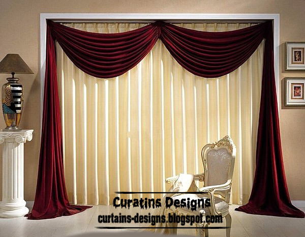 Red Curtains beige red curtains : Dream Beige curtain with red curtain scarf design