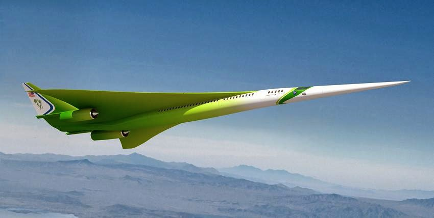 This rendering shows the Lockheed Martin future supersonic advanced concept featuring two engines under the wings and one on top of the fuselage (not visible in this image). Image Credit: NASA/Lockheed Martin