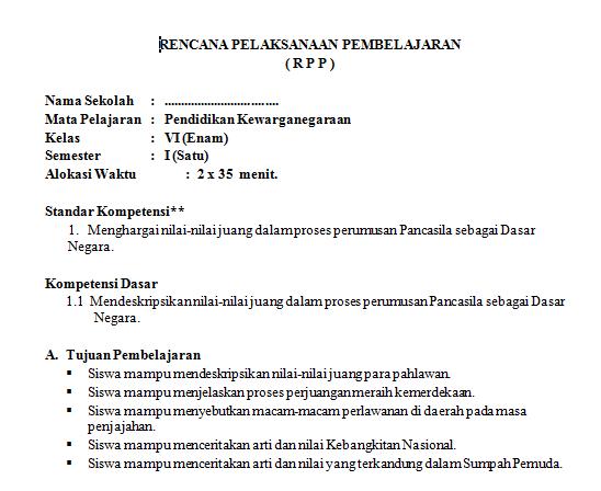 Download RPP dan Silabus Kelas 6 SD Kurikulum KTSP