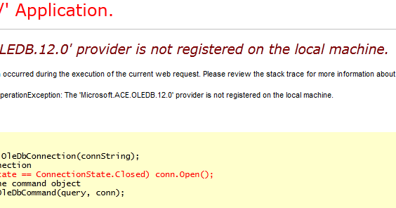 the microsoft ace oledb 12 0 provider is not registered on the local machine