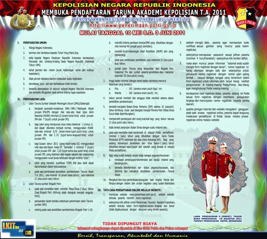 Agenda Penerimaan Taruna Akpol TA 2011