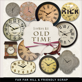 Free scrapbook clock elements from Far Far Hill