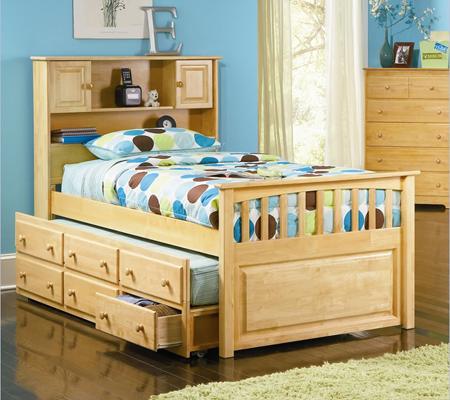 Giường hộp 2 tầng có ngăn kéo và giá sách Atlantic GT10NADS