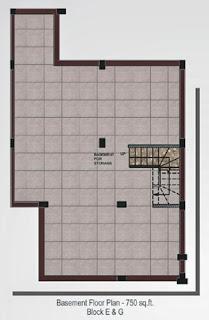 Oxford Square :: Floor Plans,Super Area 125 Sq. Yd. :-Basement Floor PlanSuper Area: 750 Sq. Ft.