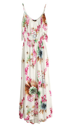 White maxi dress with tropical pattern, from H&M