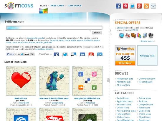 Situs Penyedia Icon Gratis SoftIcons