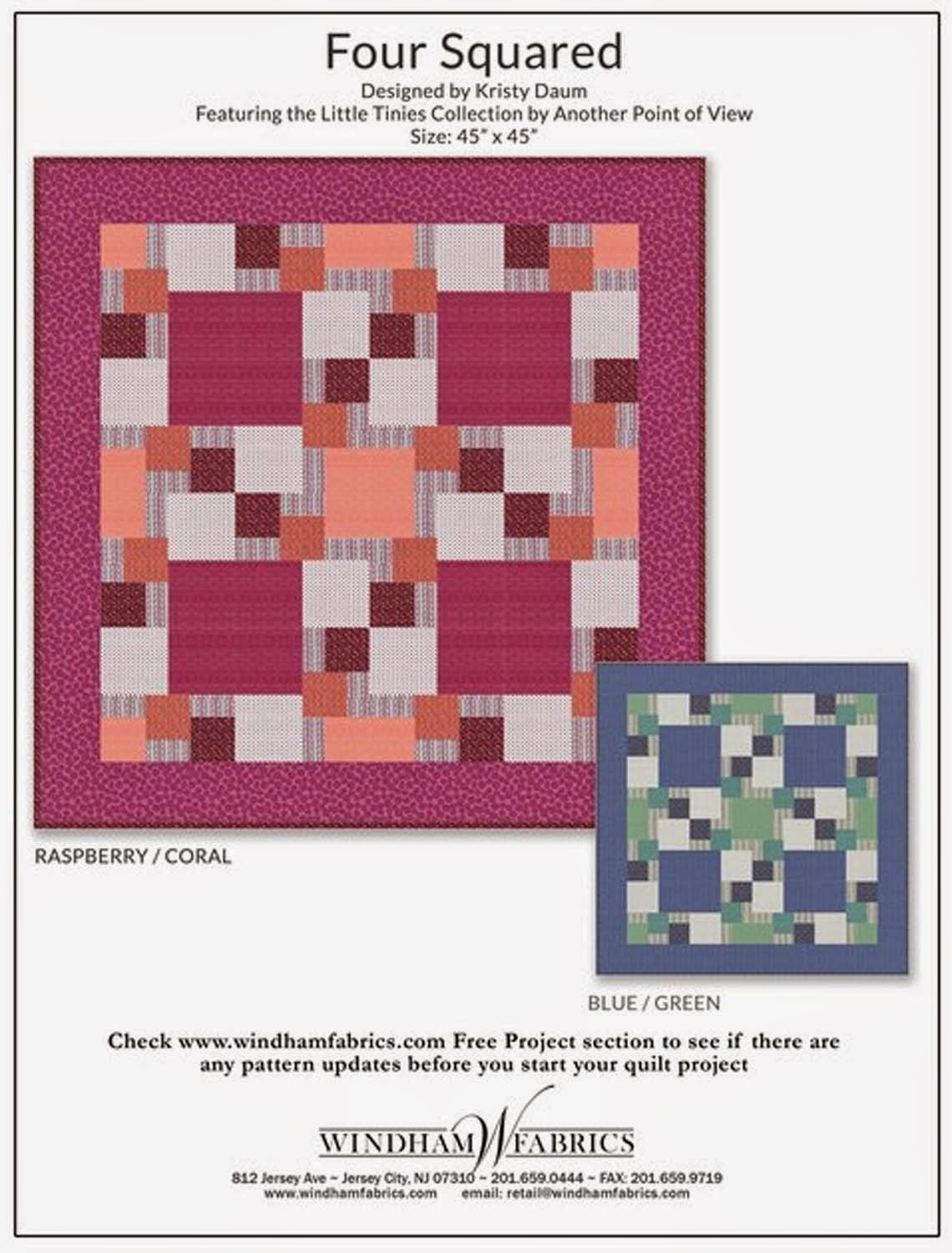 FOUR SQUARED free quilt pattern