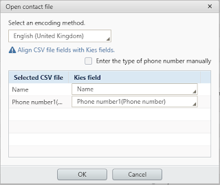 CSV to Samsung Kies Contact Import