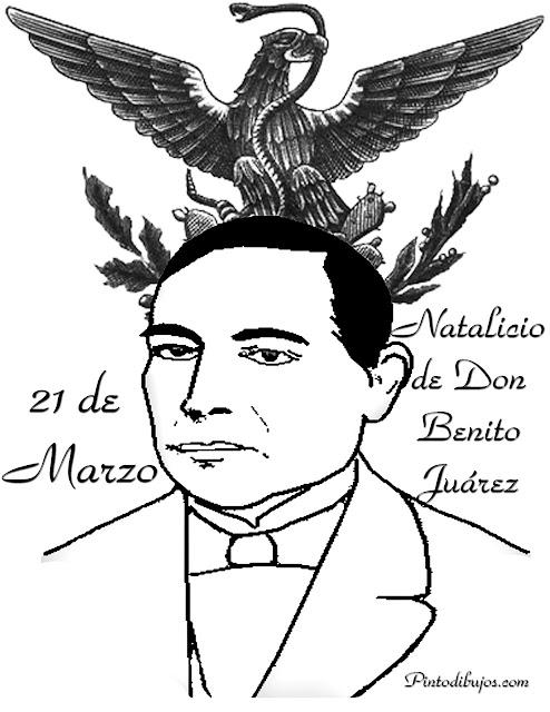 Dibujo para colorear de Benito Juárez