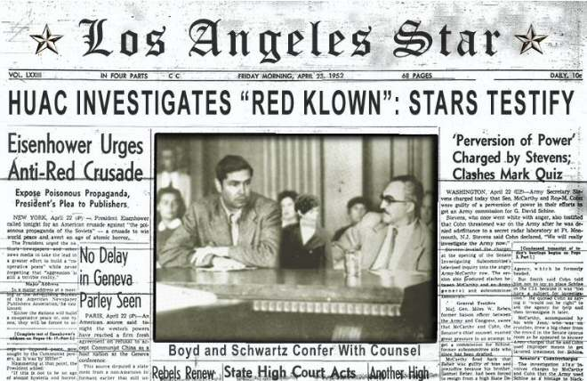 the investigation of ten hollywood actors by the house un american activities committee The house un-american activities committee (huac) was an investigative committee of the united states house of representatives after conviction on contempt of congress charges, the hollywood ten were blacklisted by the industry.
