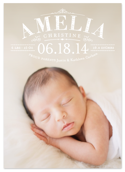 full bleed photo birth announcement for minted
