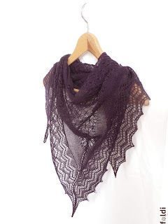 passap machine knitted triangular lace scarf