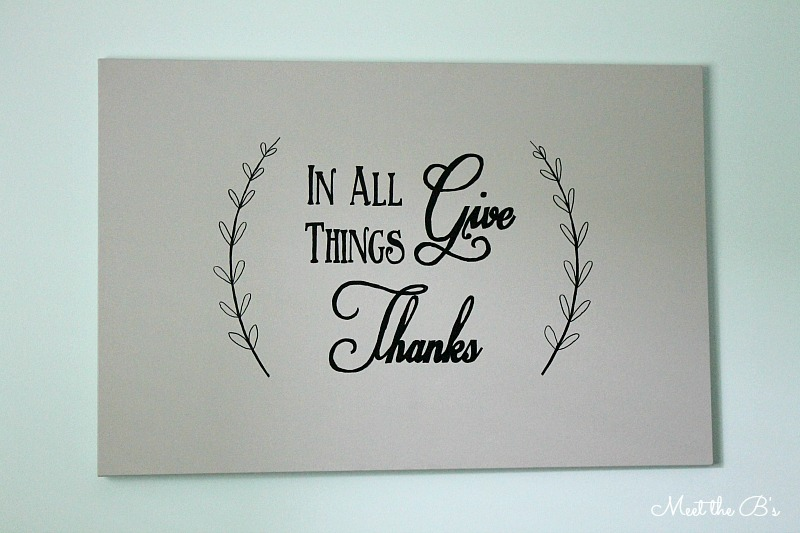 """In all things, give thanks."" Dining room wall art 