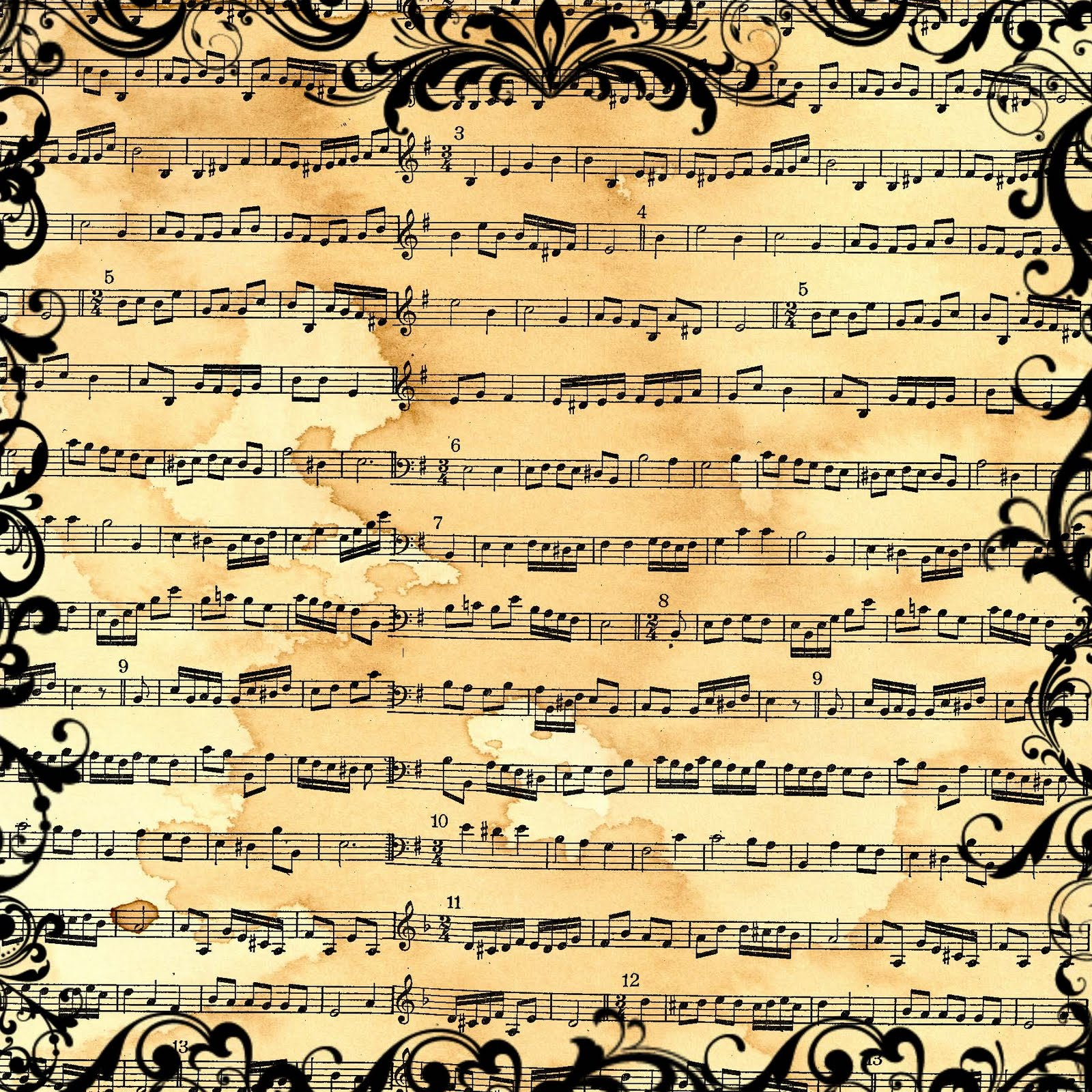 FREE Digital Scrapbook Paper   Vintage Sheet Music