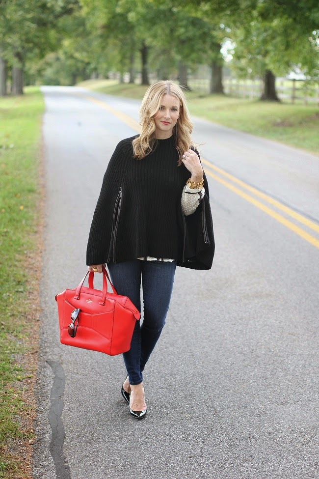 club monaco cape, jcrew jeans, christian louboutin heels, kate spade bag, jcrew shirt