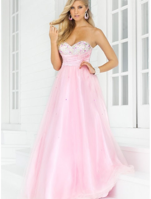 Organza Sweetheart Strapless Neckline A-Line Prom Dress with Beaded Bust