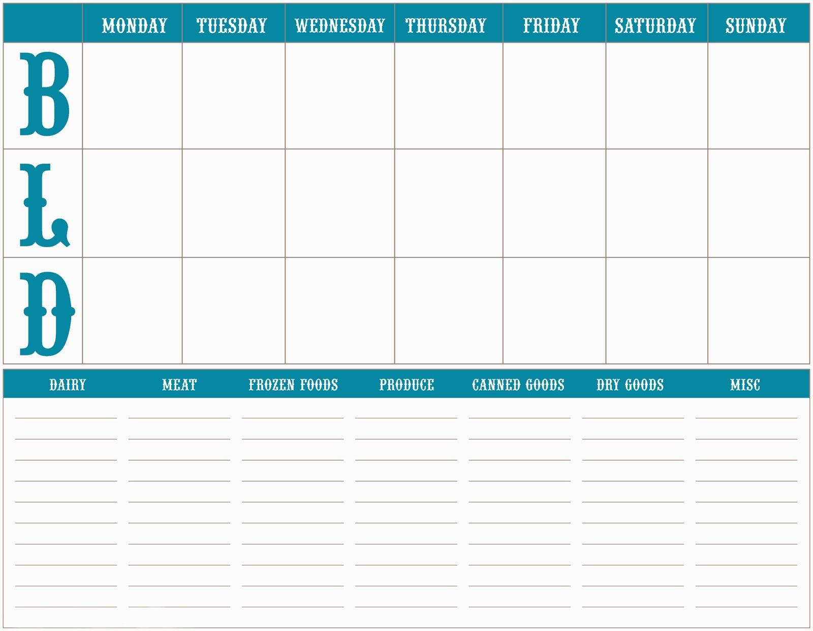 1600 x 1241 jpeg 154kB, Weekly Meal Pklaner Template | New Calendar ...