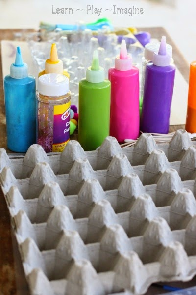 An invitation to create art with a recycled egg carton