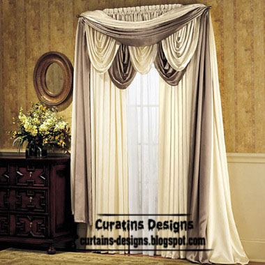 Classic Curtain designs, Greek curtain style, white curtain design, classic scarf curtains