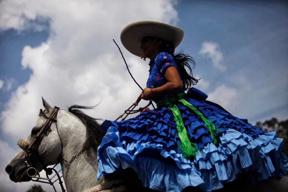 Fashion designer Cristina Alvarez Tostado Pena. Dresses for female riders of escaramuza teams.