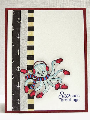Octopus in Mittens holiday card by Jennifer Ingle for Newton's Nook Designs
