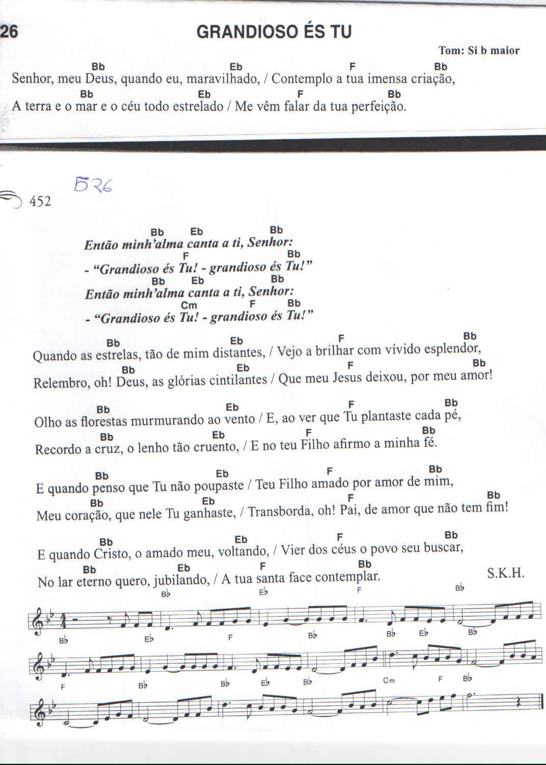 Partiuras: Partitura violino e teclado- Harpa Cristã - Grandioso és Tú - 526