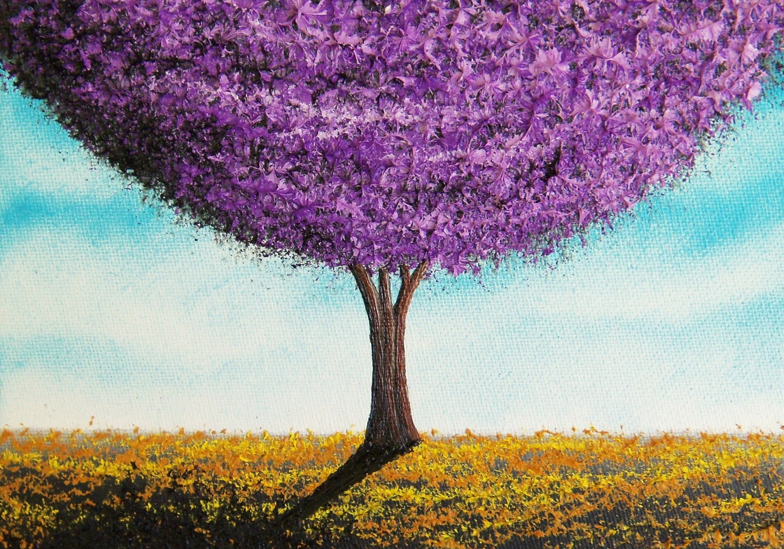abstract painting of tree art purple tree landscape
