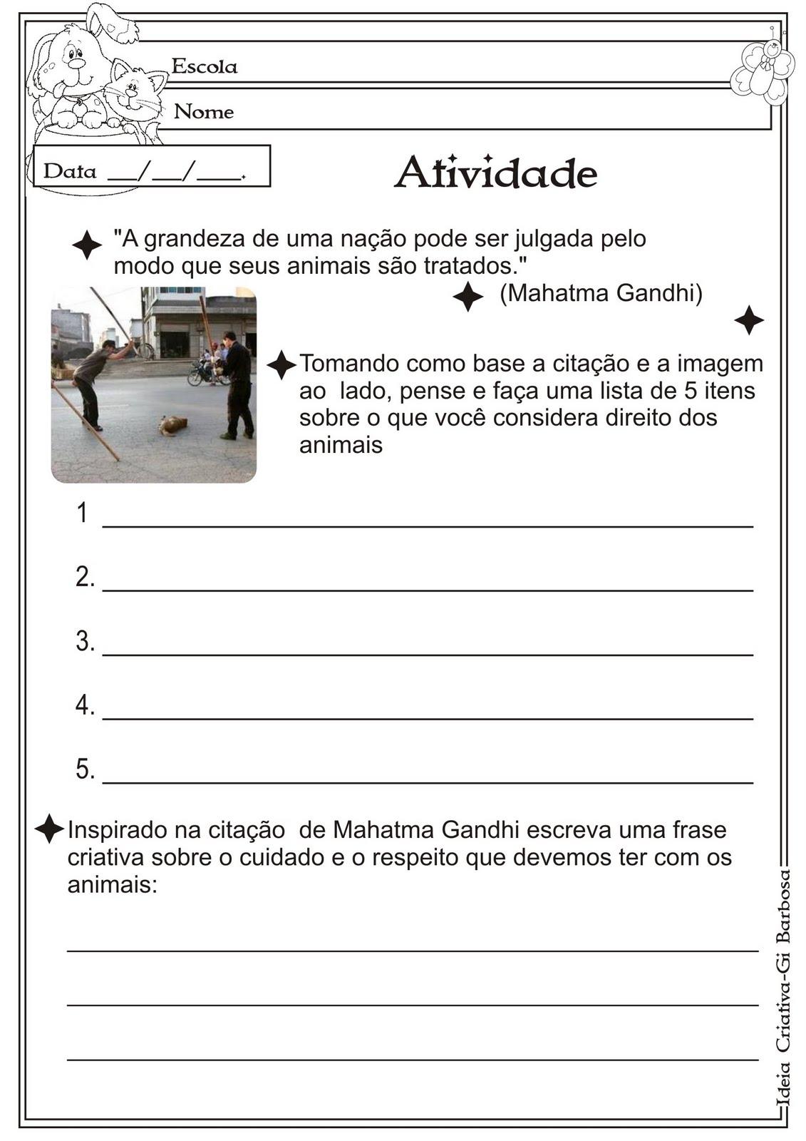 Atividade Direitos dos Animais