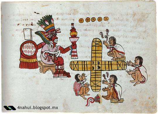 Personas rezando a Xochipilli para jugar patolli