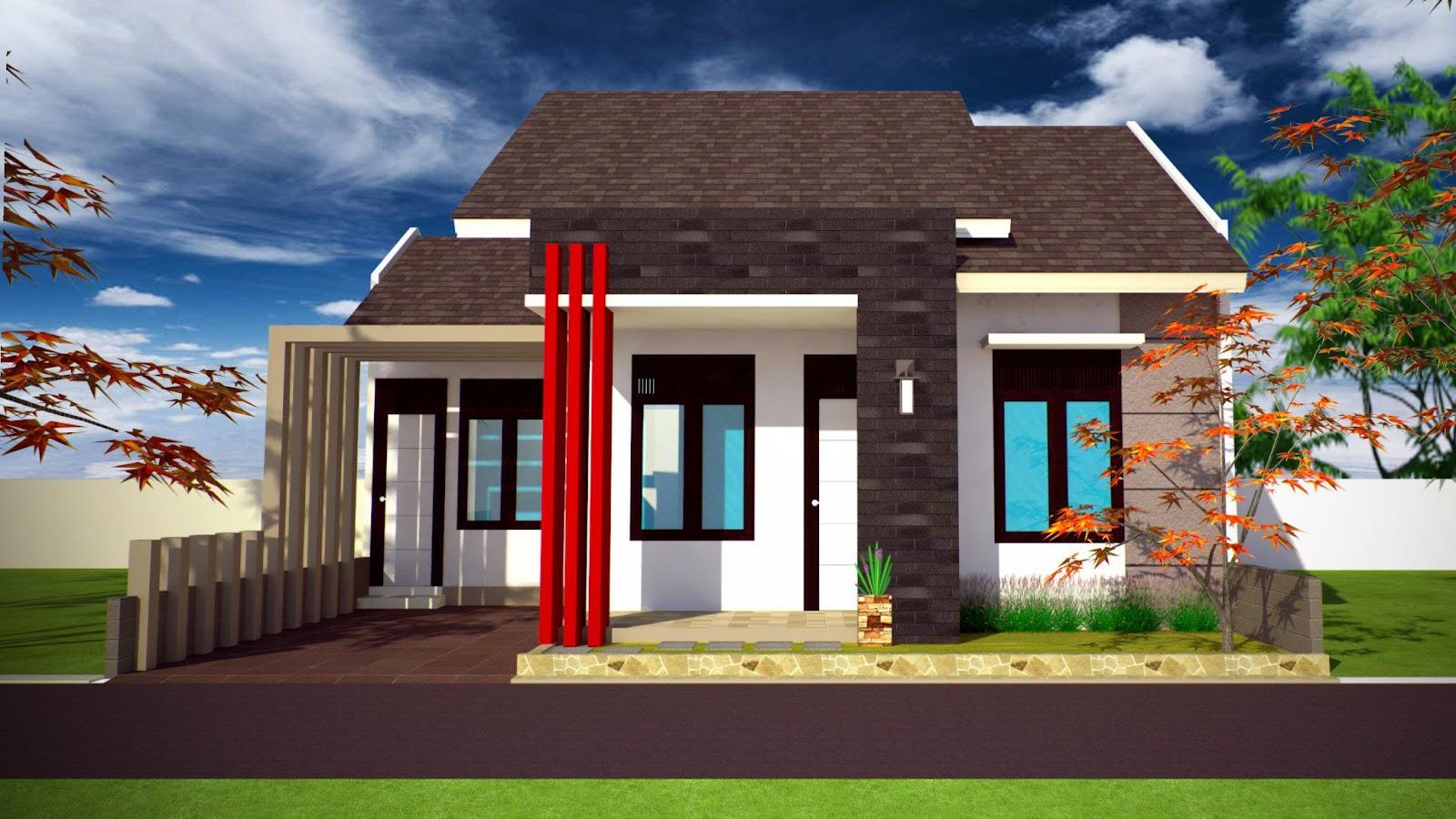 Tampak depan rumah minimalis , rumah minimalis Modern, kopel type 70