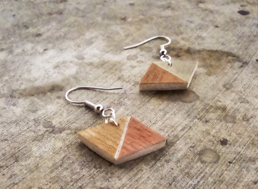 Handmade wooden geometrical earrings