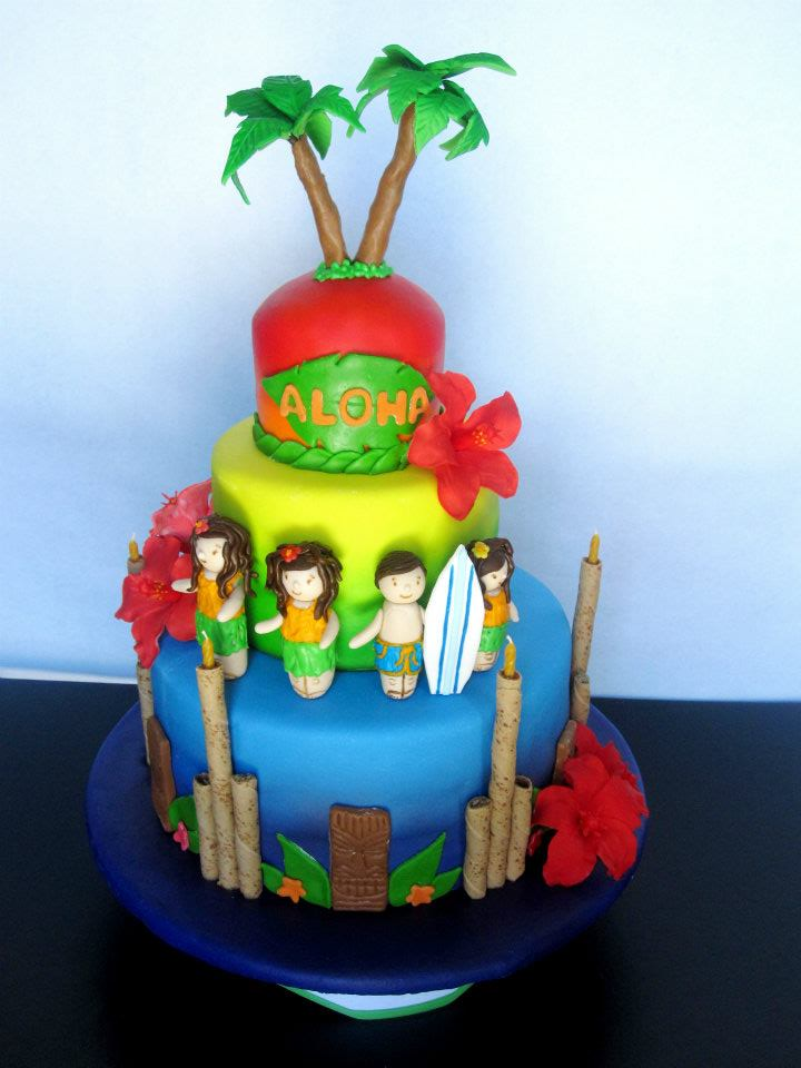 Luau Hawaiian Theme Birthday Cake