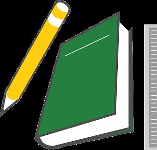 Desenho de caderno, lápis e régua colorido